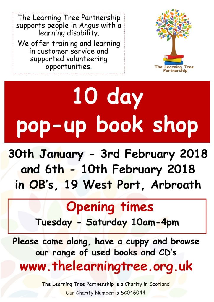 Jan Feb pop up book shop poster