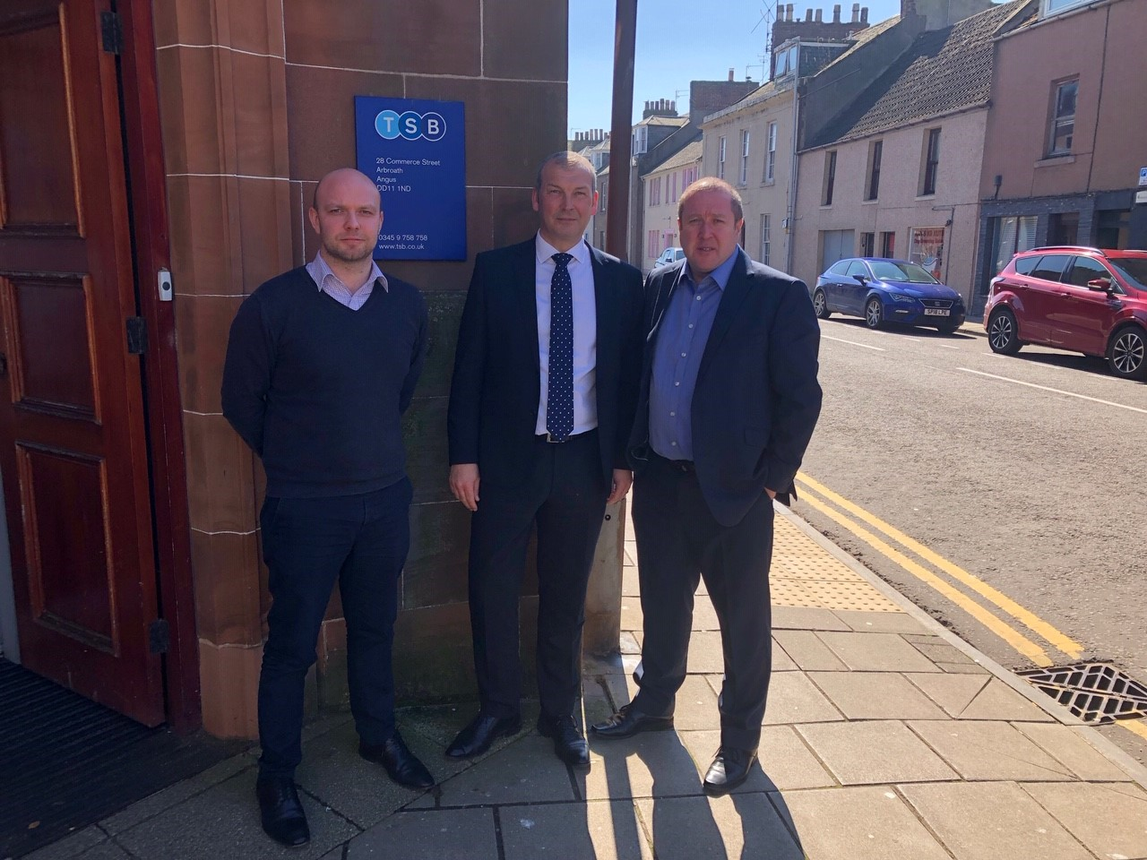 Left to right Cllr Mark McDonald, TSB Local Area Director, Chris Galloway and Graeme Dey MSP