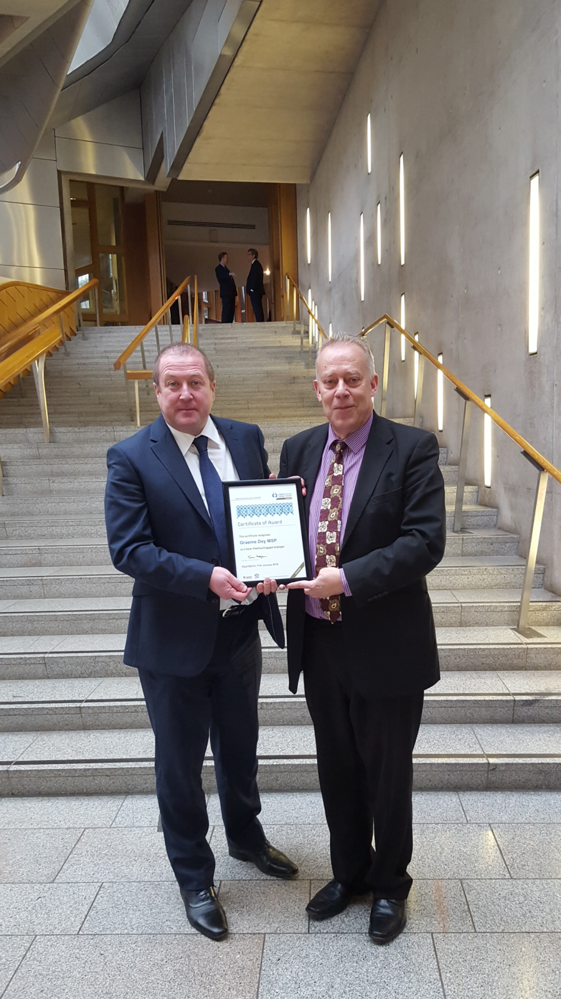 GRAEME DEY MSP RECOGNISED AS CARER POSITIVE EMPLOYER